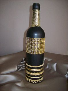 Decorated Wine Bottle by Studio1021 on Etsy