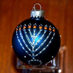 Menorah Hanukkah Ornament Silver Manorah Hand Painted on Blue Glass Bulb. via Etsy.