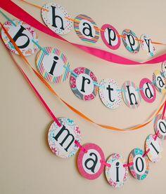 custom HAPPY BIRTHDAY BANNER with name--hot pink, yellow, orange, aqua. $30.00, via Etsy.
