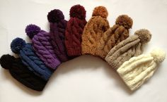 Cable Knit Beanie with Pom Pom CHOOSE TWO Hand by LovelyVanilla, $69.90