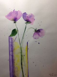 "Aquarell , "" Blumen in der Vase ""  30 x 40 cm , Unikat in Antiquitäten & Kunst, Malerei, Aquarelle | eBay!"