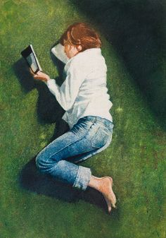 Maxwell Doig, Figure Reading on Green Ground 2013 Mixed media on Arches paper