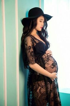 Black Maternity PhotoProps DressFancy Pregnancy Photo Shoot Studio Clothing Sweet Gift Free Size