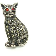 Cat Brooch. Sterling Silver Marcasite Jewelry. Ruby Red Rhinestone... ($28) ❤ liked on Polyvore featuring jewelry, brooches, vintage pins brooches, vintage marcasite brooch, sterling silver brooch, art deco brooch and vintage sterling silver jewelry