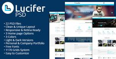 Buy Lucifer - Multipurpose PSD Theme by DZOAN on ThemeForest. LUCIFER is a unique and creative Multi-purpose PSD template with modern flat and responsive design. Creative Portfolio, Personal Portfolio, Creative Studio, Web Themes, Website Themes, Template Site, Psd Templates, Computer Theme, Company Portfolio