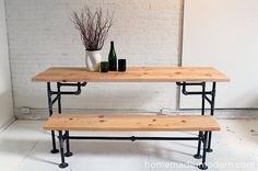 I've long been a fan of combining the warmth of wood with the cool industrial feel of metal pipes in home decor. You too? Check out these wood an iron bench and table tutorials!