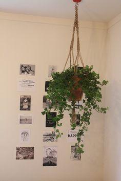 Macramé planthanger met klimop. Zwart wit foto's aan de muur. Bloem&zo!
