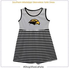 Let them enjoy on game day in this Southern Mississippi Sleeveless Tank Dress An officially Licensed product from Vive La Fete Collegiate Drop waist dress Gathered skirt Above the knee length Southern Miss Golden Eagles, Gathered Skirt, Drop Waist, Tank Dress, Mississippi, Tank Man, Game, Skirts, Mens Tops