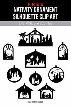 Free nativity ornament silhouette clip art in EPS, PNG (transparent), and SVG formats. Nativity Ornaments, Nativity Crafts, Christmas Nativity, Christmas Ornaments, Xmas, Nativity Silhouette, Silhouette Clip Art, Christmas Printables, Homemade Christmas