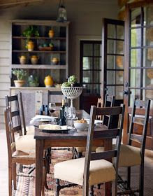❤ Open-Air Porch- Mix-and-match antique chairs surround a rustic dining table on the open-air porch of a young family's house in Cashiers, North Carolina. Modern Rustic Decor, Rustic Outdoor, Rustic Design, Rustic Cottage, Rustic Cabins, Cozy Cottage, Rustic Farmhouse, Cottage Style, Farmhouse Style