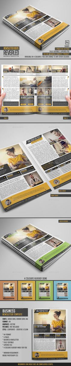▱ [Get Nulled]▹ Business Newsletter Accounting Bi-Fold Bifold Brochure Brochures Newsletter Format, Company Newsletter, Business Newsletter Templates, Newsletter Design, Newsletter Ideas, Indesign Templates, Print Templates, Photoshop Design, Adobe Photoshop