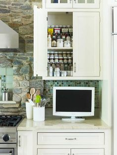 Organization tips for every room in the house from betterhomesandgardens.com    I especially like the tiered spice racks inside the shelves!