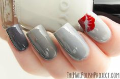 Beautiful Grey Nails #grey #red #kisses  #Nails #nailart #nailpolish #naillacquer - bellashoot.com #holidaynails