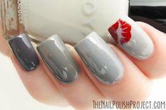 Beautiful Grey Nails #grey #red #kisses