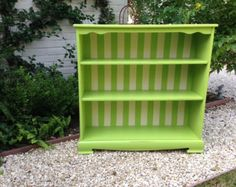 WHIMSICAL SHABBY CHIC green white striped bookcase - charming bookcase chalk paint furniture Two Whimsies