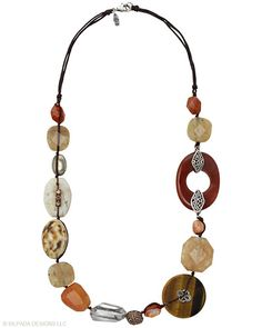 Layers beautifully! Tiger's Eye, Agate, Pyrite, Ceramic, Magnesite, Copper, Glass, Sterling Silver.