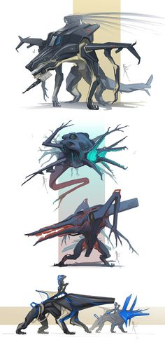 Draw Creatures Mechdoodles by Hydrothrax - Monster Concept Art, Robot Concept Art, Creature Concept Art, Fantasy Monster, Monster Art, Creature Drawings, Animal Drawings, Creature Feature, Creature Design