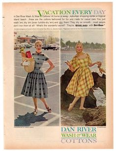 Vintage Dan River Cottons Magazine Print Ad 1960 Dress Advertisement 1960s Ladies Fashions