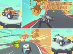 Unlock new trucks and enjoy the ride! New Trucks, Monster Trucks, Racing, 3d, Running, Auto Racing
