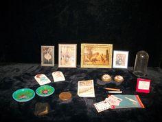 21 Pieces Vintage Miniature Pictures Desk Set Calendar Dome Bible Quill Plates