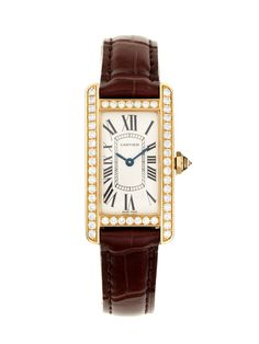 Cartier Tank Americane Watch by Tourneau at Gilt Tank Watch, Diamond Crown, Cartier Tank, Pre Owned Watches, Square Watch, Jewelery, Quartz, Accessories, Collection