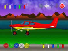 Happy Airplane, Start/Stop, Color the airplane Ipod Touch, Airplane, Toddlers, Ipad, Iphone, Learning, Happy, Color, Children