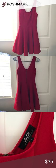 Bright Red Cocktail Dress Never worn, gorgeous, Red, tank style , fit n flare cocktail dress. The material is thick and stretchy. Actual color in third pic. Never got a chance to wear it. Lulu's Dresses