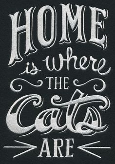 RQQ™ Cat Pet home is where the Cats are fabric embroidered quilt block