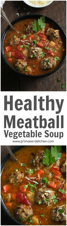This Healthy Meatball Vegetable Soup is full of veggies and protein. It's super easy to make, very satisfying, low-carb and gluten-free too.