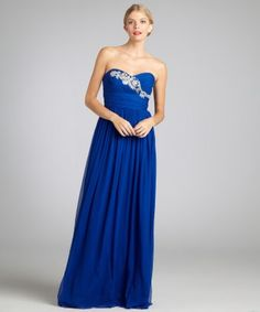 Notte by Marchesa : cobalt silk chiffon strapless embellished evening gown : style # 320370801