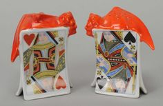 "Pair of Salt & Pepper Shakers, Devil & Card, Royal Bayreuth. Bayreuth, Bavaria, ca. 1930. One marked ""Bavaria"" the other marked 19 (or 61). 3"", Exc."