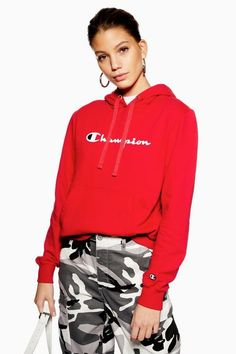 e557c4f58d485 Womens Script Logo Hoodie By Champion - Red. Champion JacketRed ...