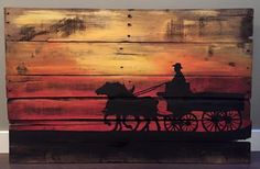 Horse drawn carriage wood painting