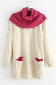 Detachable Collar Beige White Sweater