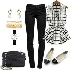 Sleeveless in Chiffon & Black Jean Outfit created by tsteele