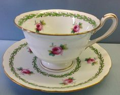"Wileman Gainsborough Shape ""Pink Rose"" Pattern Small Tea Cup Saucer   eBay"