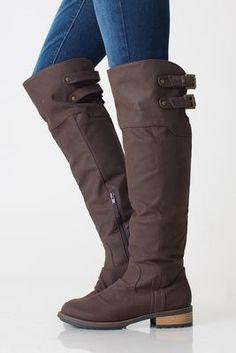 Brown flat OTK riding boots