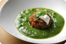 Acorn Timbales (acorn burgers) with Nettle Veloute
