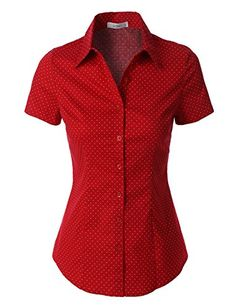 LE3NO Womens Polka Dots Short Sleeve Button Down Tailored...