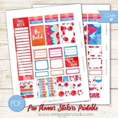Free Printable Bright & Bold Planner Stickers from Vintage Glam Studio