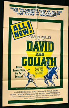 DAVID AND GOLIATH (1960) Movie Poster Orson Welles - #FairyTale #Fantasy #MoviePoster   http://stores.ebay.com/AwesomeBMovies