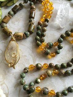 The Golden Jungle, Quartz Mala...Feauturing Glowing Citrine and Rainforest Jasper