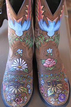 wearable art - custom painted boots  Main and Vine, 163 S Main St, Keller, TX 76248  mainandvine.com