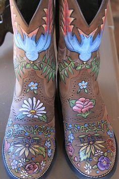 wearable art - custom painted boots  Main and Vine, 163 S Main St, Keller, TX 76248  mainandvine.com