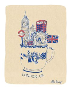 Londres Teacup Art Print 8 x 10 par ellolovey sur Etsy London Eye, London Illustration, Illustration Art, City Poster, Illustration Inspiration, British Things, London Calling, Travel Posters, Graphic