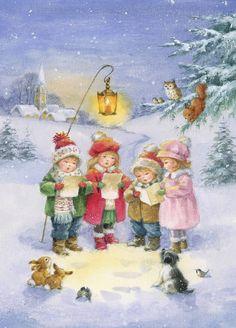 Christmas Scenes, Christmas Cards To Make, Vintage Christmas Cards, Christmas Pictures, Christmas Time, Christmas Sweaters, Christmas Decorations, Christmas Artwork, Christmas Drawing