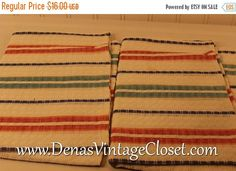 25% Off SALE Vintage Czechoslovakia Pedigree Pure Linen Striped Kitchen Towels New With Tags 30 X 20