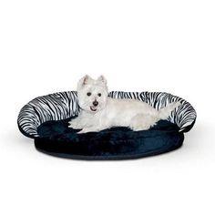 "K&H Pet Products Plush Pet Bolster Sleeper Zebra 23"""" x 30"""" x 7"""""