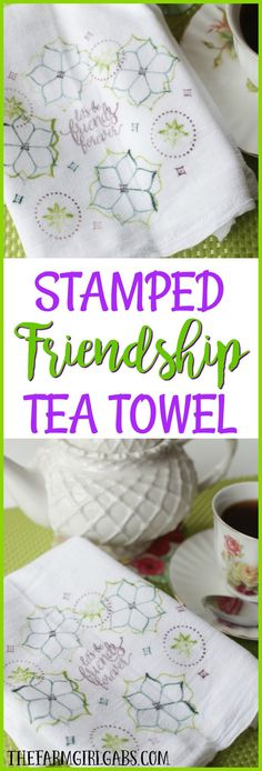 This easy DIY Stamped Friendship Tea Towel is the perfect gift from the heart. Make one to give and make one to keep. Stampin! Up Eastern Beauty set is the star of this craft project.