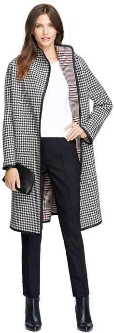 $998, Brooks Brothers Wool Houndstooth Coat. Sold by Brooks Brothers. Click for more info: https://lookastic.com/women/shop_items/93660/redirect